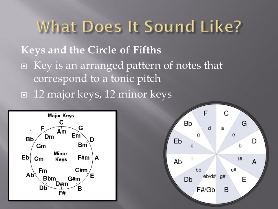 Keys and the Circle of Fifths  Key is an arranged pattern of notes that correspond to a tonic pitch  12 major keys, 12 minor keys