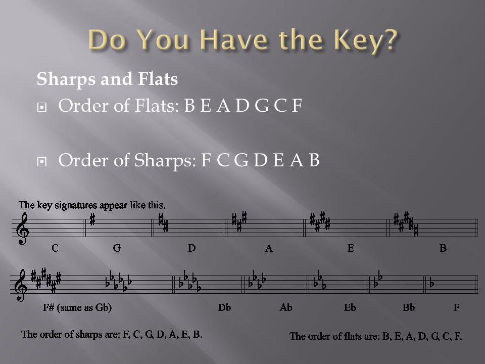 Sharps and Flats  Order of Flats: B E A D G C F  Order of Sharps: F C G D E A B