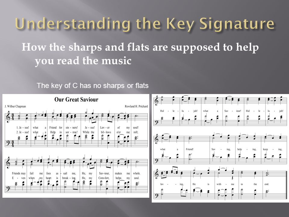 How the sharps and flats are supposed to help you read the music The key of C has no sharps or flats