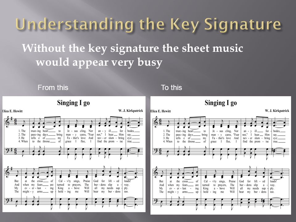 Without the key signature the sheet music would appear very busy From this To this