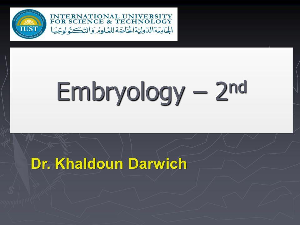 Embryology – 2 nd Dr. Khaldoun Darwich