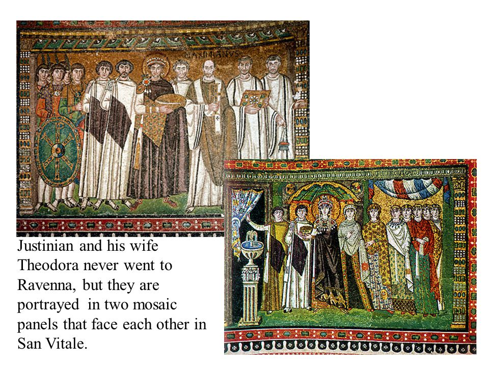 Justinian and his wife Theodora never went to Ravenna, but they are portrayed in two mosaic panels that face each other in San Vitale.