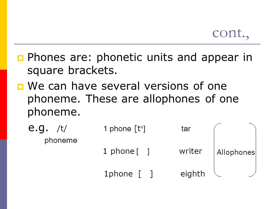 cont.,  Phones are: phonetic units and appear in square brackets.  We can have several versions of one phoneme. These are allophones of one phoneme.