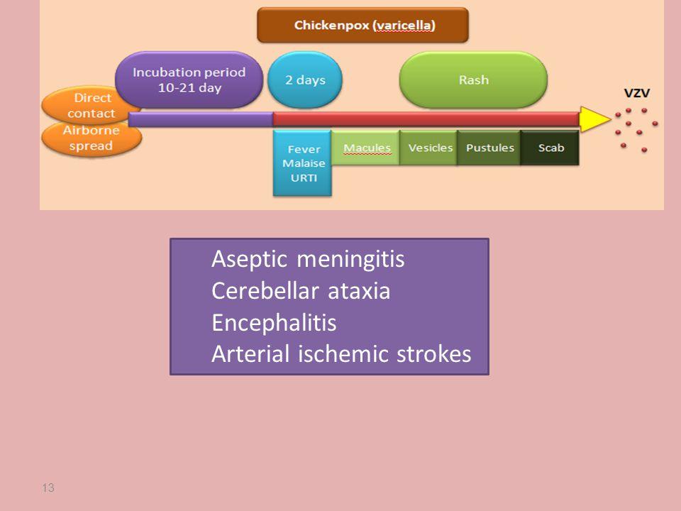 Aseptic meningitis Cerebellar ataxia Encephalitis Arterial ischemic strokes 13