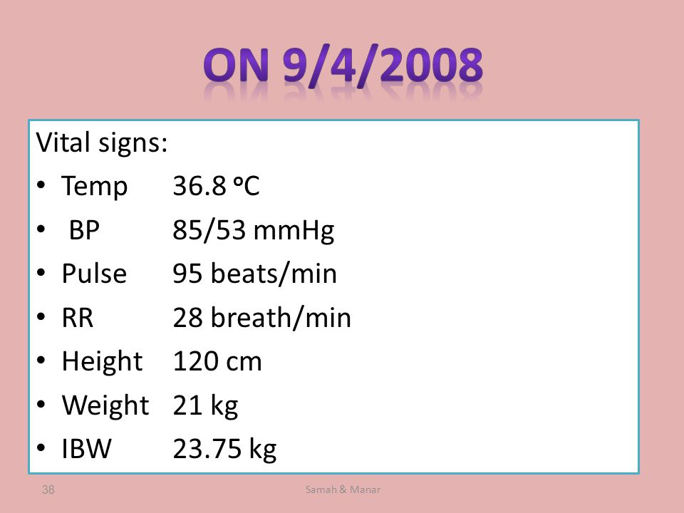 Samah & Manar38 Vital signs: Temp36.8 o C BP85/53 mmHg Pulse95 beats/min RR28 breath/min Height120 cm Weight21 kg IBW23.75 kg