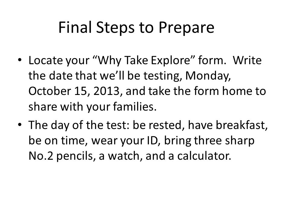 Final Steps to Prepare Locate your Why Take Explore form.