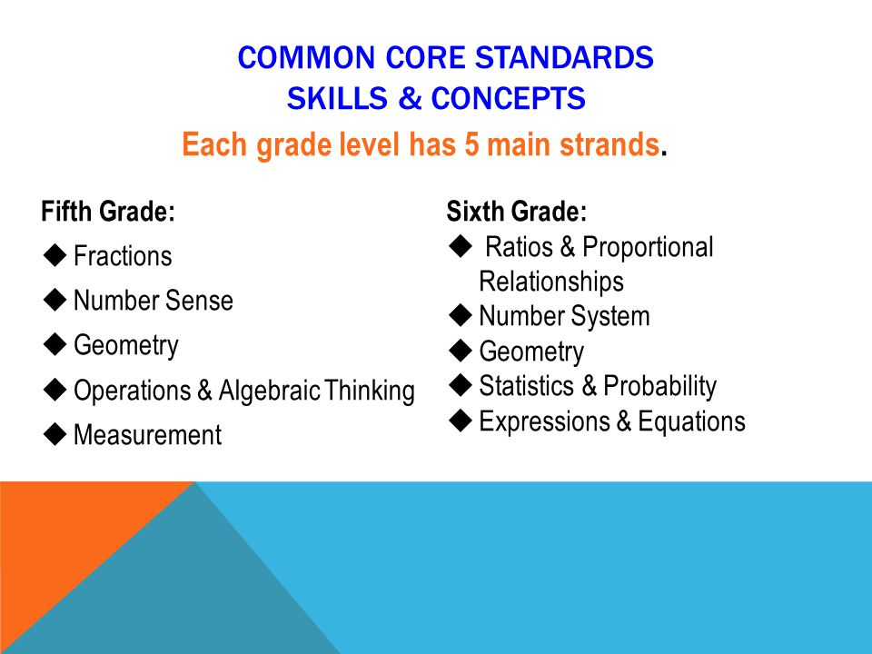 COMMON CORE STANDARDS SKILLS & CONCEPTS Fifth Grade:  Fractions  Number Sense  Geometry  Operations & Algebraic Thinking  Measurement Sixth Grade:  Ratios & Proportional Relationships  Number System  Geometry  Statistics & Probability  Expressions & Equations Each grade level has 5 main strands.