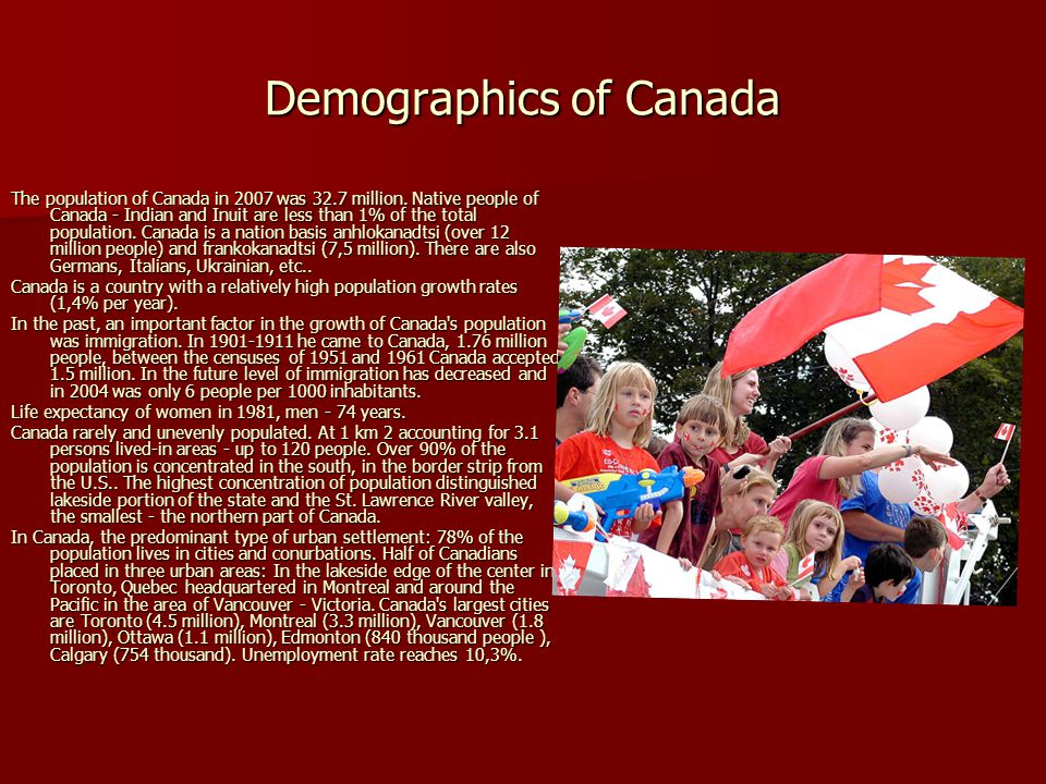 Demographics of Canada The population of Canada in 2007 was 32.7 million. Native people of Canada - Indian and Inuit are less than 1% of the total pop
