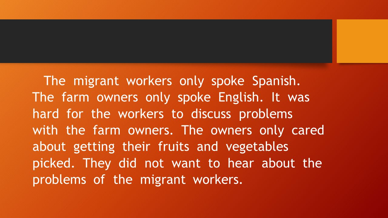 The migrant workers only spoke Spanish. The farm owners only spoke English.