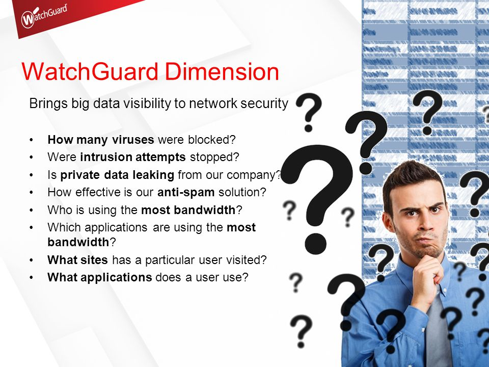 WatchGuard Dimension Brings big data visibility to network security How many viruses were blocked.