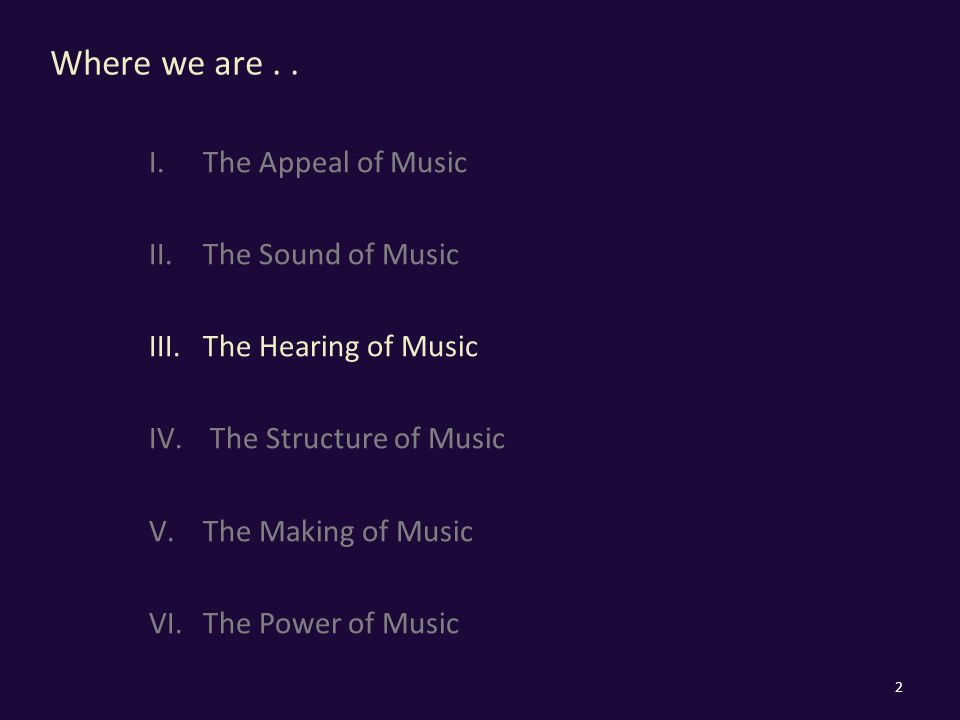 Where we are.. I.The Appeal of Music II.The Sound of Music III.The Hearing of Music IV.