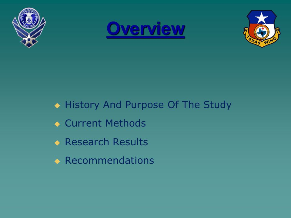 Overview   History And Purpose Of The Study   Current Methods   Research Results   Recommendations