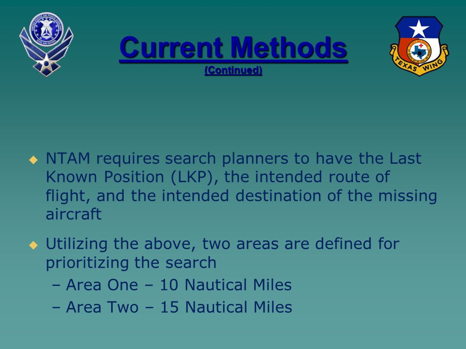 Current Methods (Continued)   NTAM requires search planners to have the Last Known Position (LKP), the intended route of flight, and the intended destination of the missing aircraft   Utilizing the above, two areas are defined for prioritizing the search – –Area One – 10 Nautical Miles – –Area Two – 15 Nautical Miles