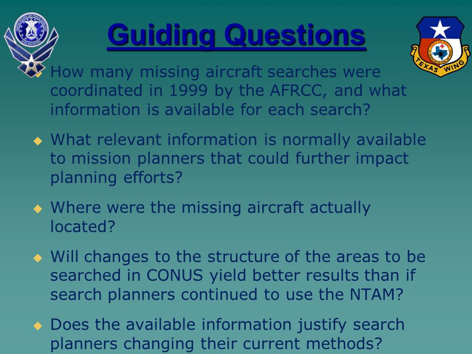 Guiding Questions   How many missing aircraft searches were coordinated in 1999 by the AFRCC, and what information is available for each search.