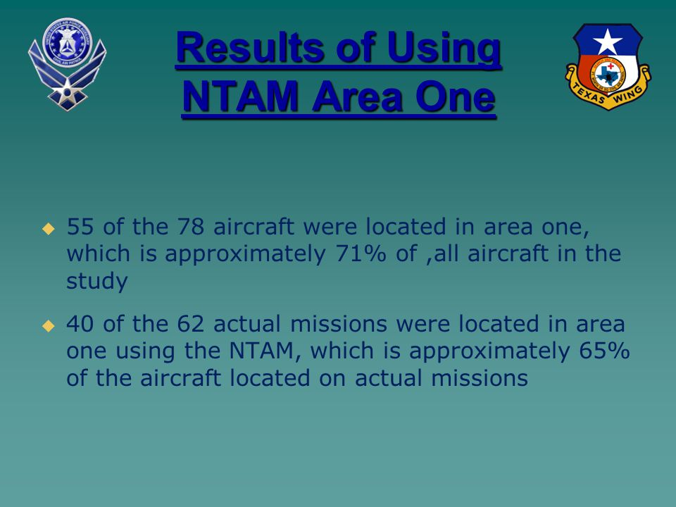 Results of Using NTAM Area One   55 of the 78 aircraft were located in area one, which is approximately 71% of,all aircraft in the study   40 of t