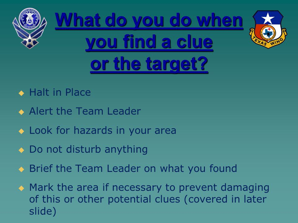 What do you do when you find a clue or the target.