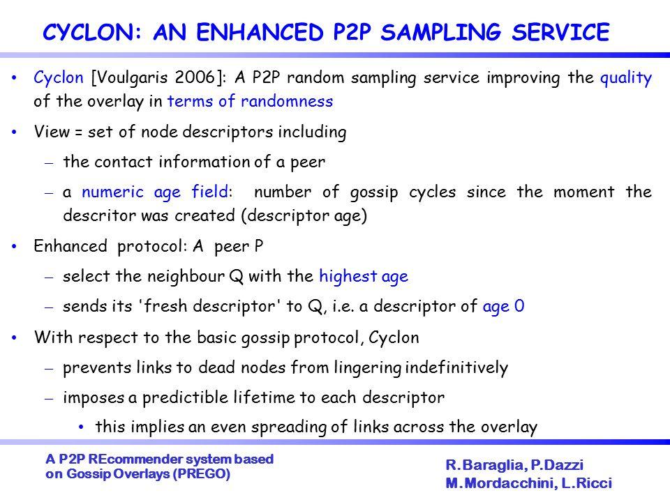 A P2P REcommender system based on Gossip Overlays (PREGO)  R.Baraglia, P.Dazzi M.Mordacchini, L.Ricci GOSSIP PROTOCOLS COMPARISON Twinfinder obtains the smallest deviation, i.e.