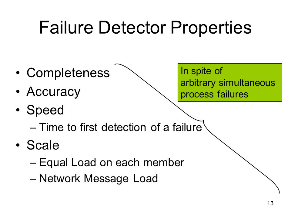 13 Failure Detector Properties Completeness Accuracy Speed –Time to first detection of a failure Scale –Equal Load on each member –Network Message Load In spite of arbitrary simultaneous process failures