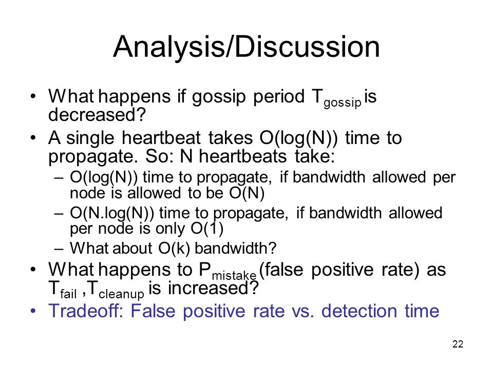 22 Analysis/Discussion What happens if gossip period T gossip is decreased.