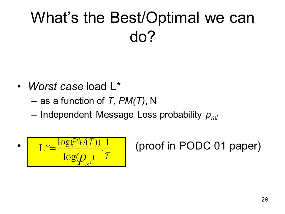 29 Worst case load L* –as a function of T, PM(T), N –Independent Message Loss probability p ml (proof in PODC 01 paper) What's the Best/Optimal we can do