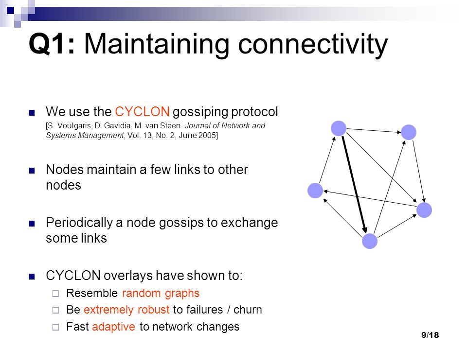 9/18 We use the CYCLON gossiping protocol [S. Voulgaris, D. Gavidia, M. van Steen. Journal of Network and Systems Management, Vol. 13, No. 2, June 200