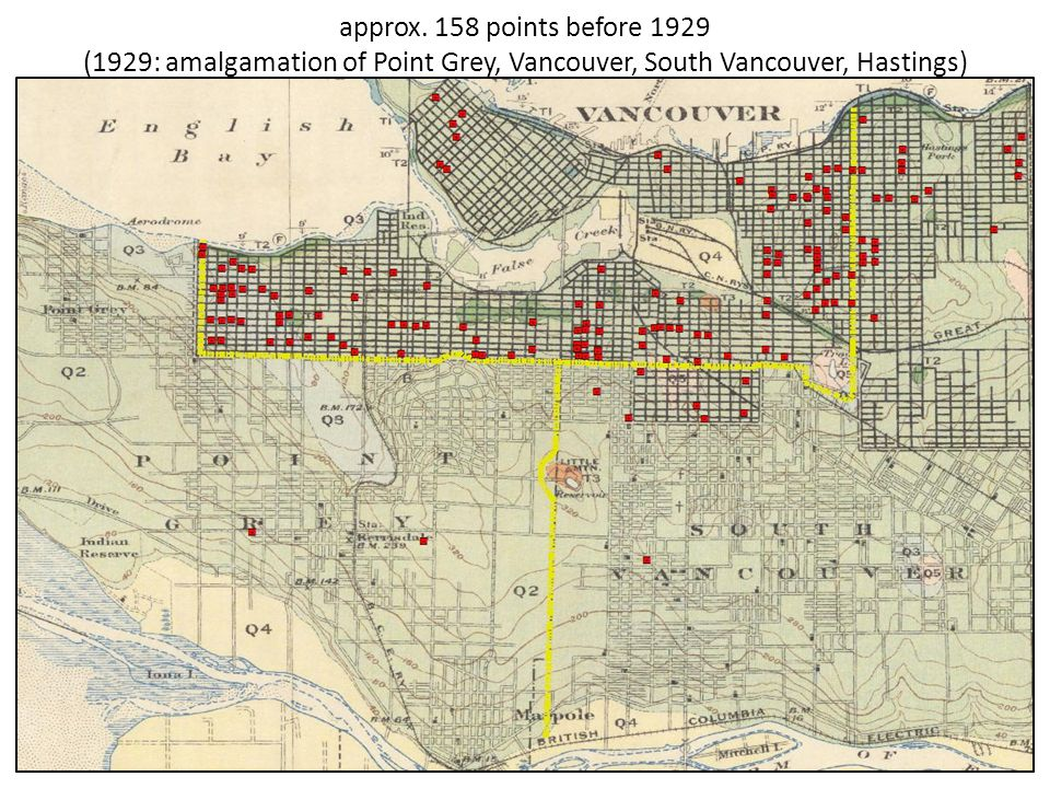 approx. 158 points before 1929 (1929: amalgamation of Point Grey, Vancouver, South Vancouver, Hastings)
