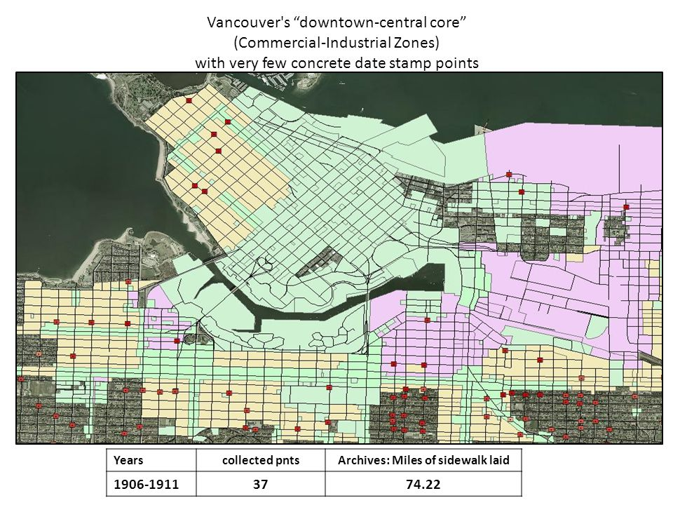 Vancouver s concrete sidewalks to 1911 (in blue) (constructed using Vancouver Archives)