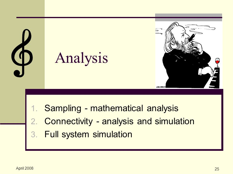April 2008 25 Analysis 1.Sampling - mathematical analysis 2.