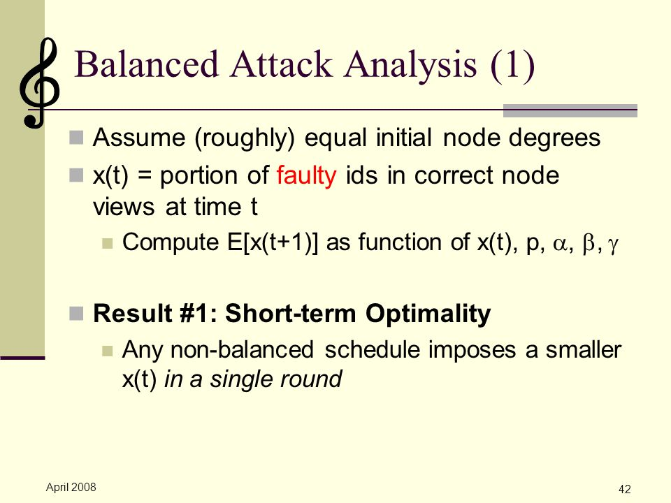 April 2008 42 Balanced Attack Analysis (1) Assume (roughly) equal initial node degrees x(t) = portion of faulty ids in correct node views at time t Compute E[x(t+1)] as function of x(t), p, , ,  Result #1: Short-term Optimality Any non-balanced schedule imposes a smaller x(t) in a single round