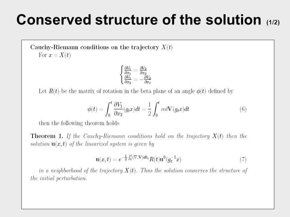Conserved structure of the solution (1/2)