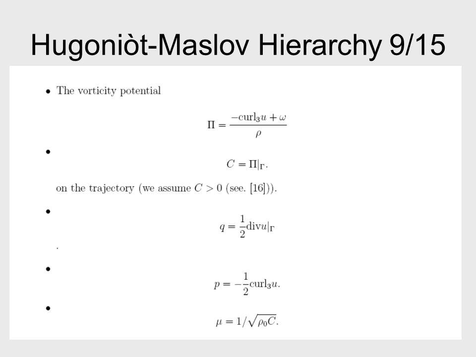 Hugoniòt-Maslov Hierarchy 9/15