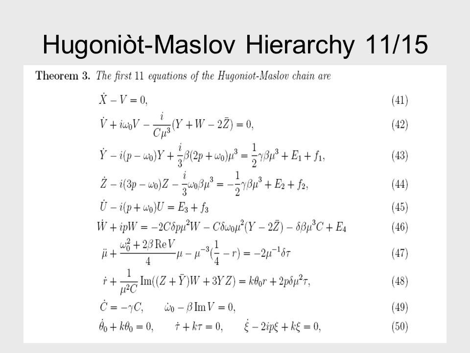 Hugoniòt-Maslov Hierarchy 12/15