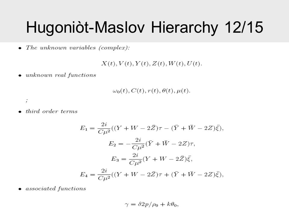 Hugoniòt-Maslov Hierarchy 13/15