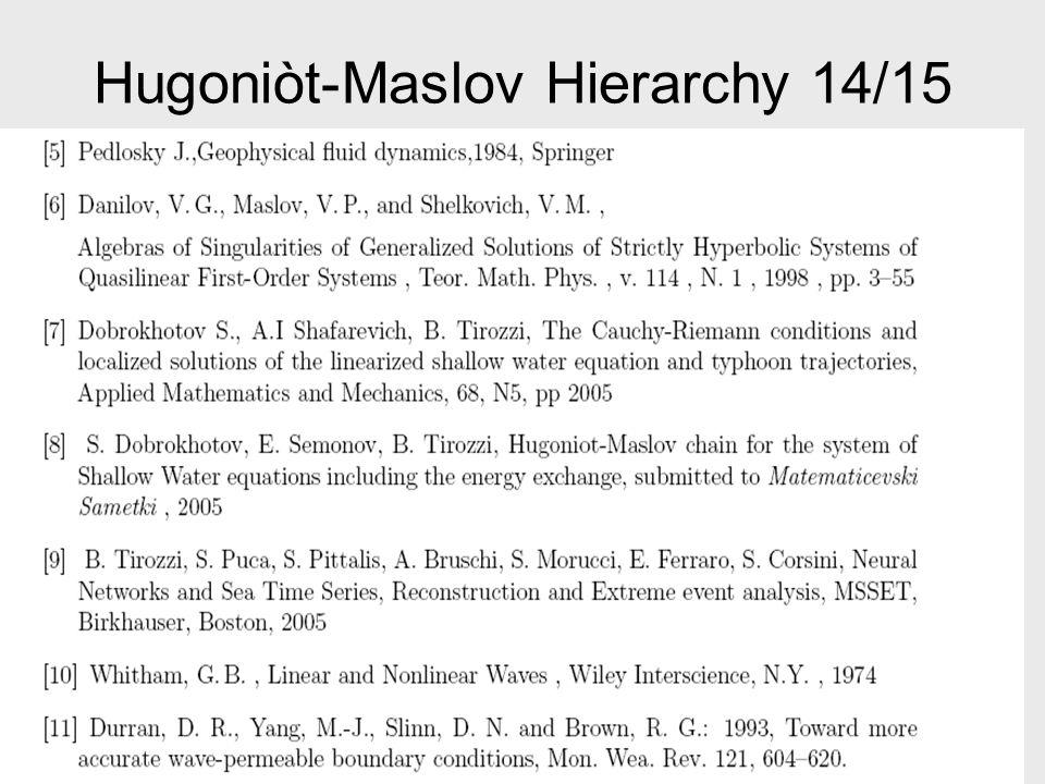 Hugoniòt-Maslov Hierarchy 14/15