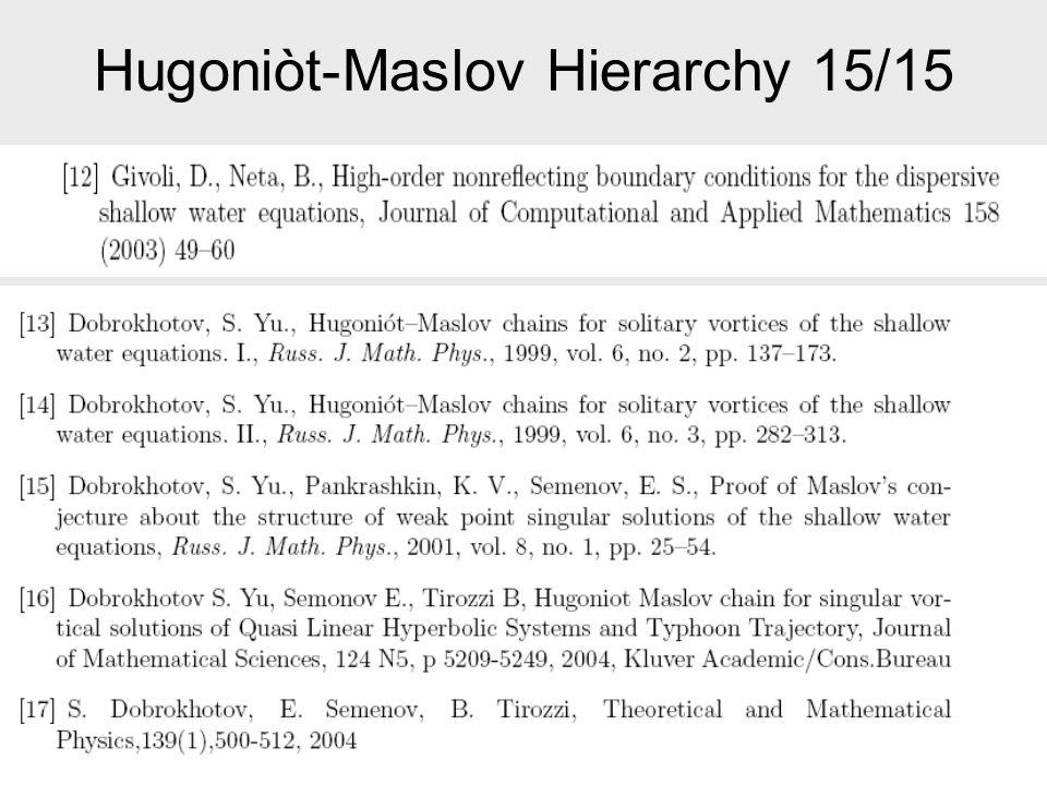 Hugoniòt-Maslov Hierarchy 15/15
