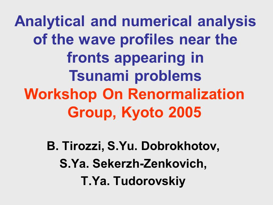 Workshop On Renormalization Group, Kyoto 2005 B. Tirozzi, S.Yu.