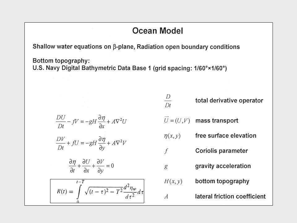 Ellipsoidal deformation M = 6.9 h f = 12 km (Pelinovsky et al., 2001) a = 34 km b = 12 km b 56° a Coordinates: model gridpoints