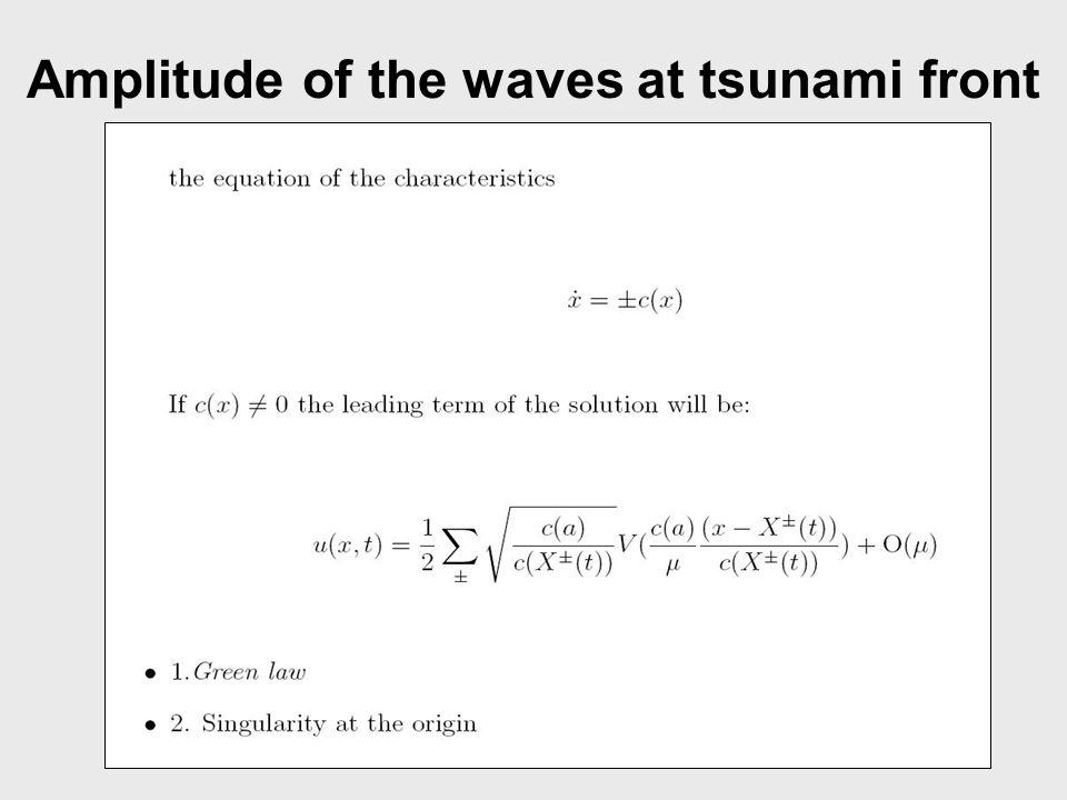 Amplitude of the waves at tsunami front