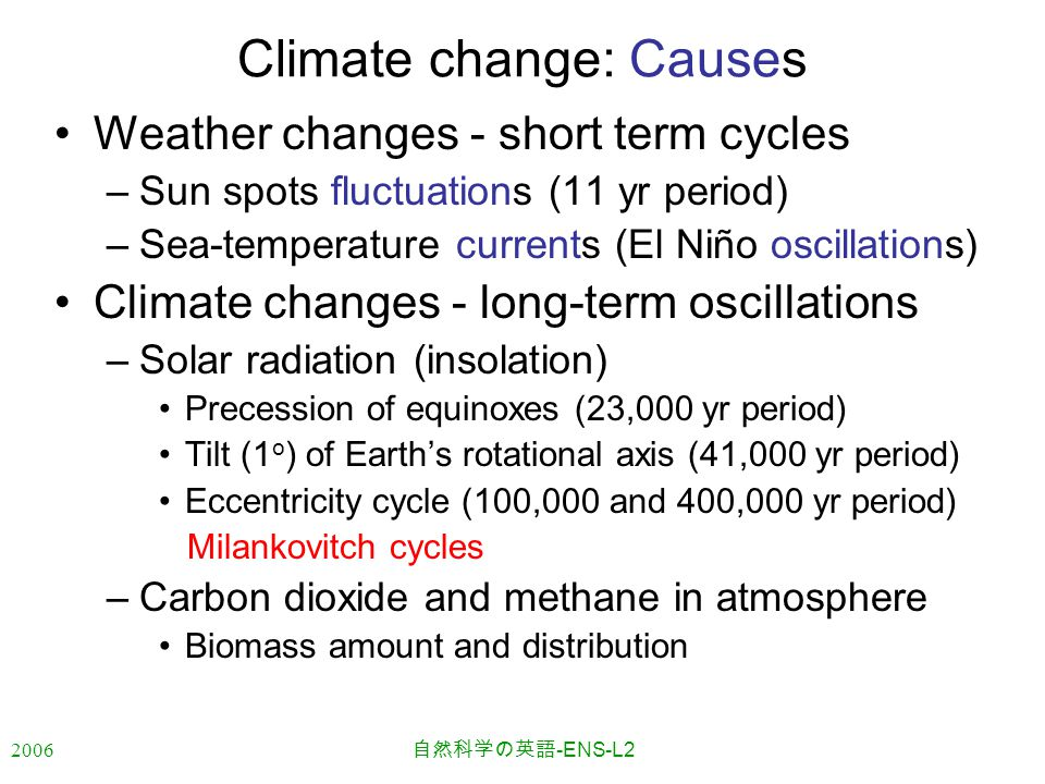 2006 自然科学の英語 -ENS-L2 Climate change: Causes Weather changes - short term cycles –Sun spots fluctuations (11 yr period) –Sea-temperature currents (El N