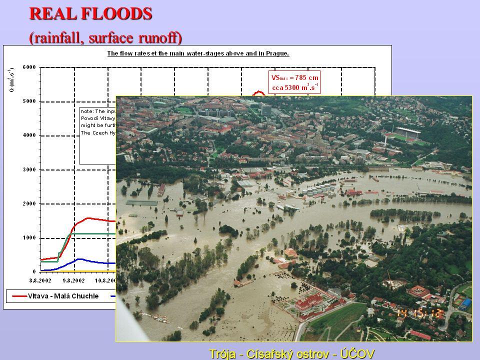 REAL FLOODS (rainfall, surface runoff) Trója - Císařský ostrov - ÚČOV