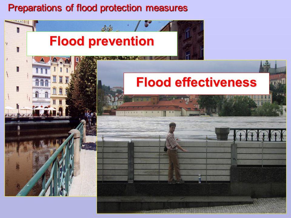 Preparations of flood protection measures Flood prevention Flood effectiveness