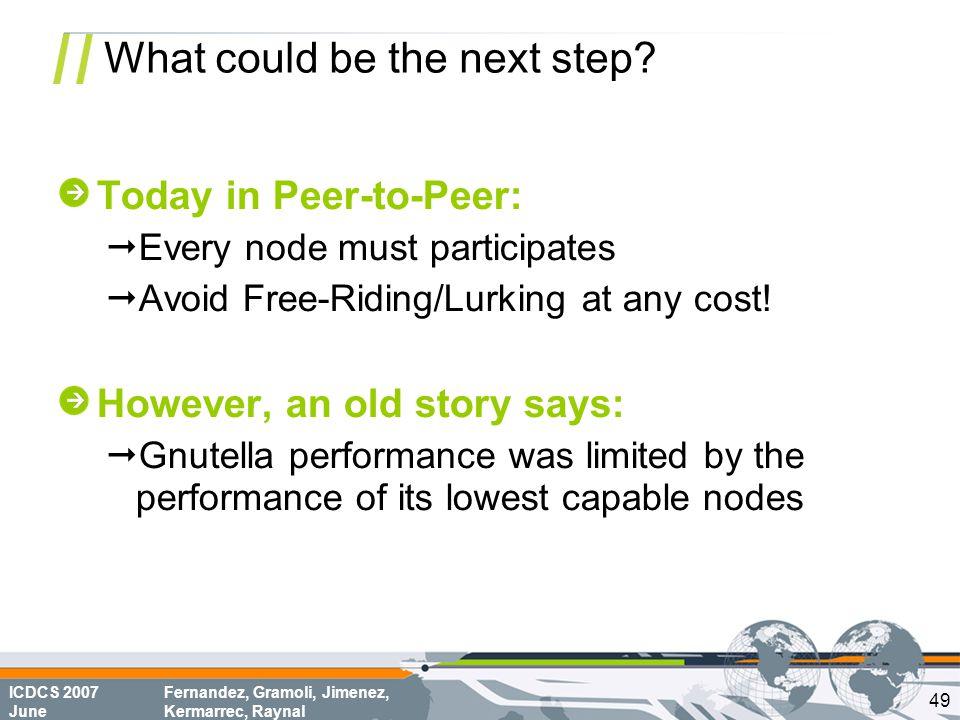 ICDCS 2007 June Fernandez, Gramoli, Jimenez, Kermarrec, Raynal What could be the next step? Today in Peer-to-Peer:  Every node must participates  Av