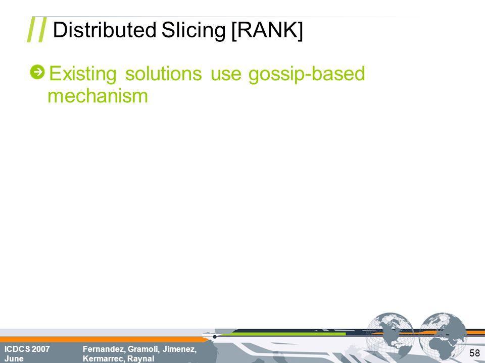 ICDCS 2007 June Fernandez, Gramoli, Jimenez, Kermarrec, Raynal Distributed Slicing [RANK] Existing solutions use gossip-based mechanism 58