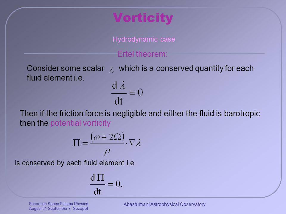 School on Space Plasma Physics August 31-September 7, Sozopol Abastumani Astrophysical Observatory Vorticity Ertel theorem: Hydrodynamic case Consider