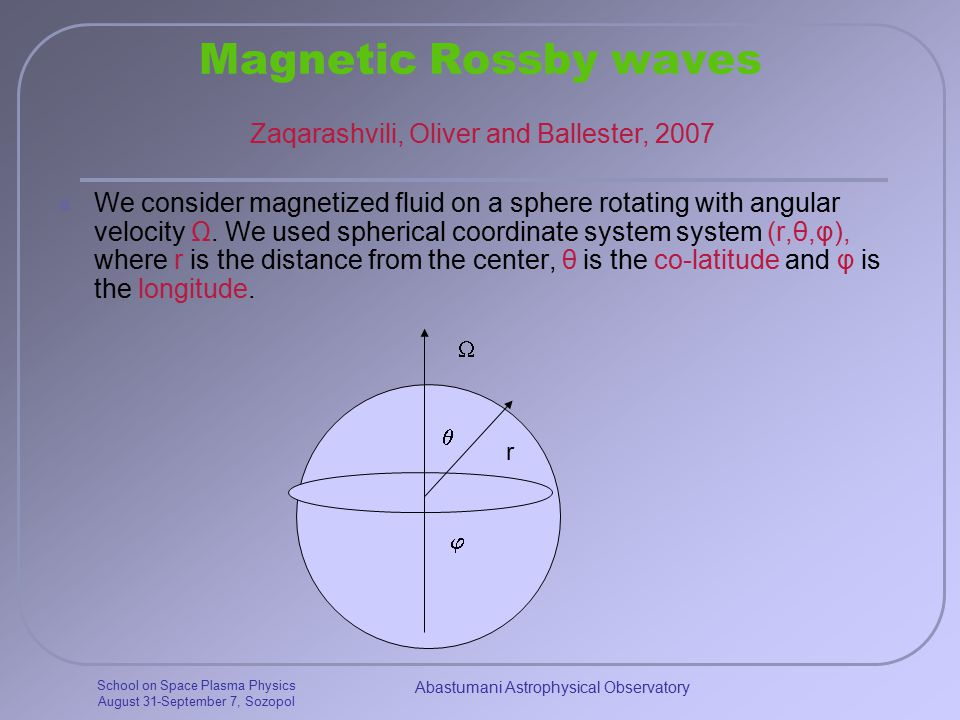 School on Space Plasma Physics August 31-September 7, Sozopol Abastumani Astrophysical Observatory Magnetic Rossby waves We consider magnetized fluid on a sphere rotating with angular velocity Ω.