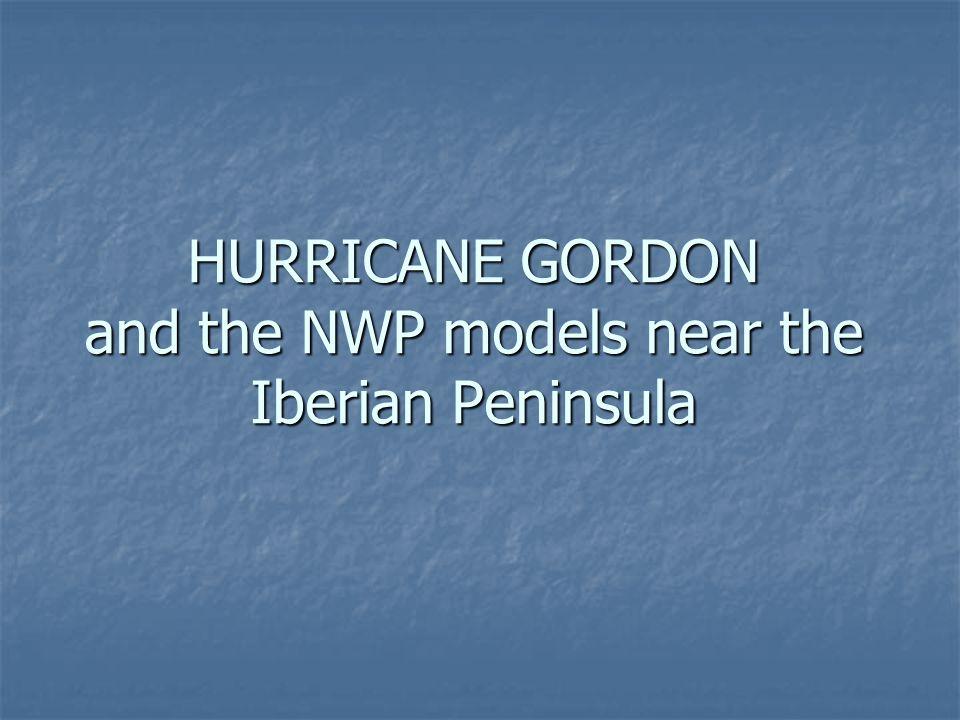 HURRICANE GORDON and the NWP models near the Iberian Peninsula