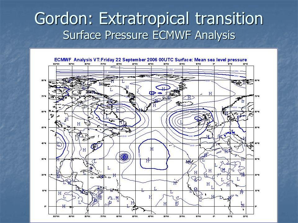 Gordon: Extratropical transition Surface Pressure ECMWF Analysis