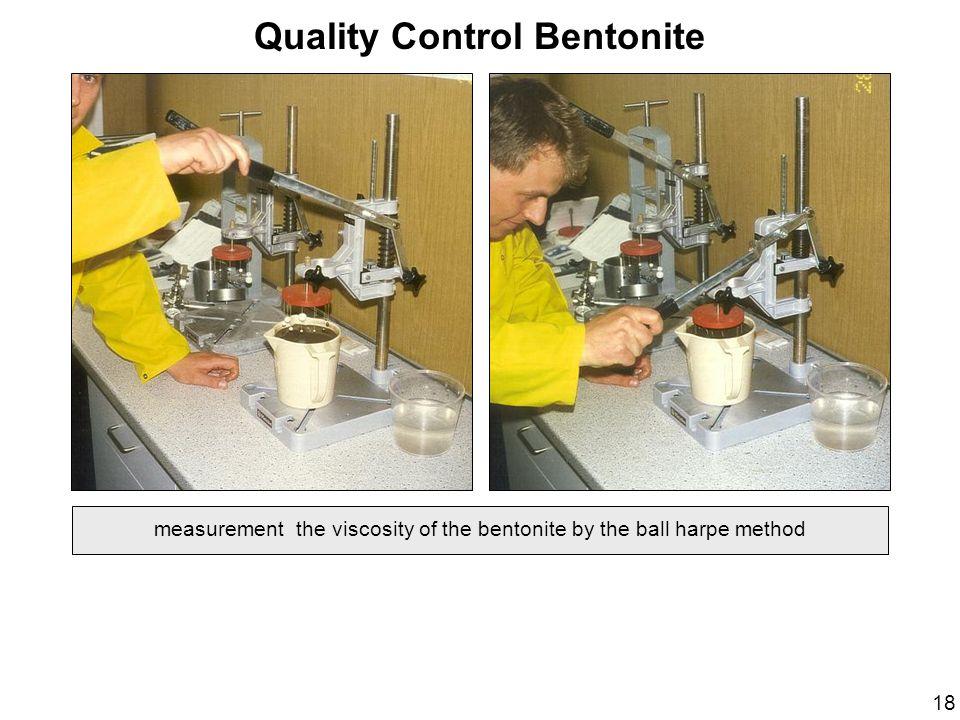 Quality Control Bentonite measurement the viscosity of the bentonite by the ball harpe method 18