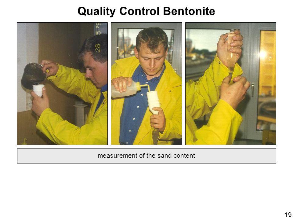 Quality Control Bentonite measurement of the sand content 19