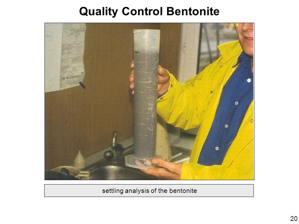 settling analysis of the bentonite Quality Control Bentonite 20